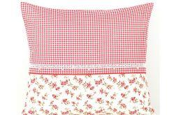 Poszewka na poduszkę kratka z różyczkami