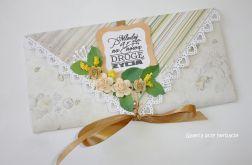 Kopertówka, kartka na ślub Młodej Pary beżowa