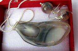 Szary agat botswana, zestaw w srebrze