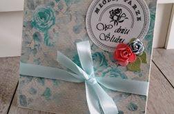 Kartka ślubna niebieskie róże
