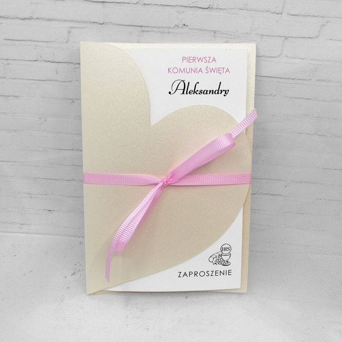 Zaproszenie na komunię dla dziewczynki serce z różową wstążką ZKS 013  - Zaproszenie na komunię dla dziewczynki serce z różową wstążką (2)