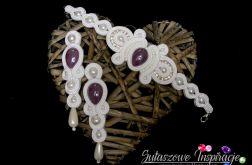 Biało fioletowa biżuteria ślubna sutasz