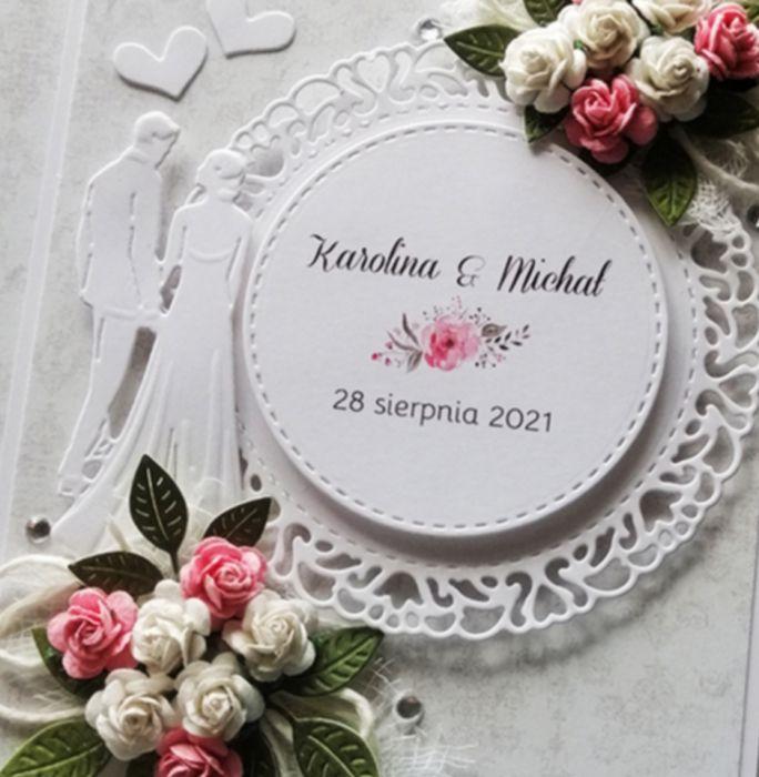 Kartka ślubna szara z różyczkami SLB 020 - kartka ślubna szara z różyczkami przód 3