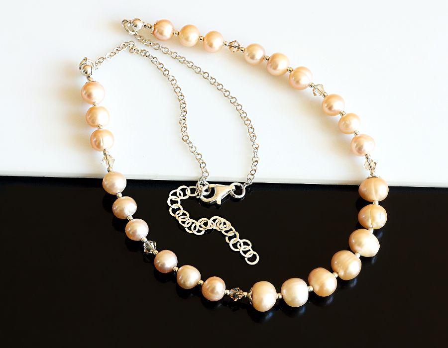 Złociste perły - naszyjnik - perłowy naszyjnik