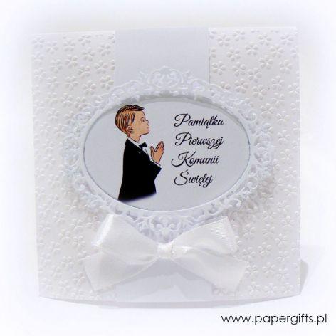 Pamiątka Komunii Św. dla Chłopca białe kwiaty