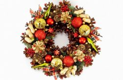 Wianek świąteczny z bombkami i kokardkami