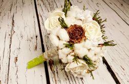 Bukiet ślubny bawełna w zieleni
