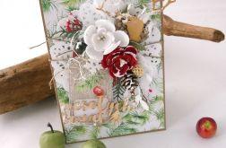 Śnieżne kwiaty - kartka świąteczna