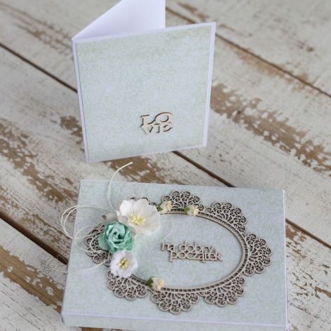 Kwiatowa kartka ślubna z pudełkiem A5