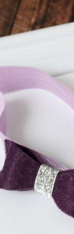 FairyBows opaska * kokardka * ciemny fiolet śliwk