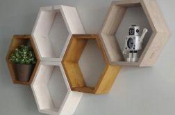 półka heksagon DUŻA wisząca drewniana
