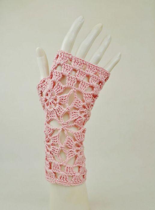 Rękawiczki, mitenki różowe - Rękawiczki ażurowe