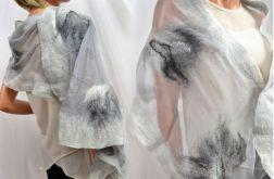 Szal jedwabny do sukienki, szary