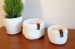 Koszyk ze sznurka baw. biały 3sztuki