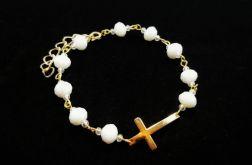 Bransoletka z Krzyżykiem Kryształki Biała