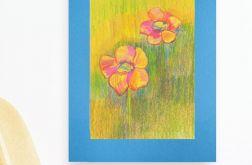 Kwiaty rysunek na niebieskim tle szkic n14