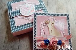 Kartka na ślub w pudełku - róż z granatem
