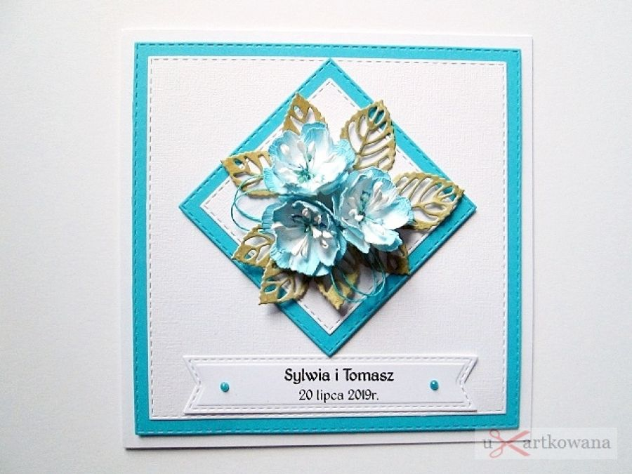Kartka NA ŚLUB z niebieskimi kwiatami - Kartka na ślub z niebieskimi kwiatami