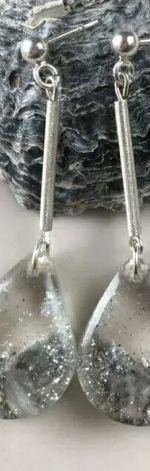 Kolczyki srebrne z żywicy