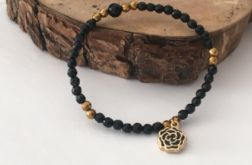Bransoletka czarna, złota onyks, hematyt z różą