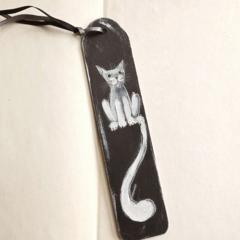 Zakładki drewniane, malowane - Koty w czerni
