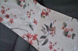 Bieżnik - czerwone kwiaty na lnie 40 x 145 cm