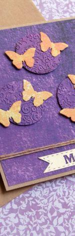 moc życzeń - motyle - fiolet- kartka handmade