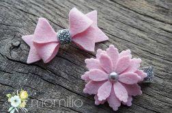 Spinki do włosów srebrno różowe