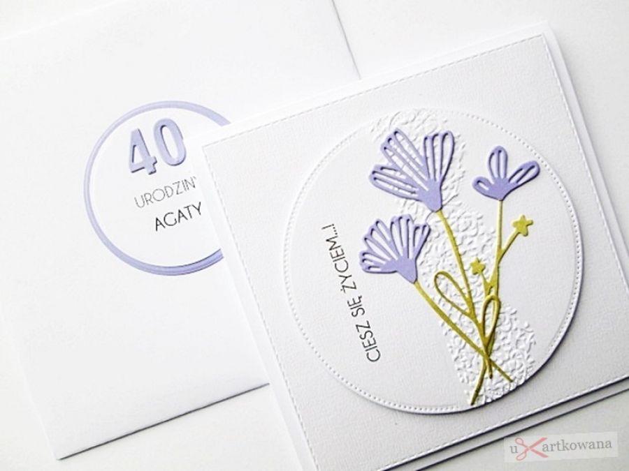 Kartka URODZINOWA fioletowe kwiaty