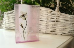 Szklany ręcznie malowany świecznik