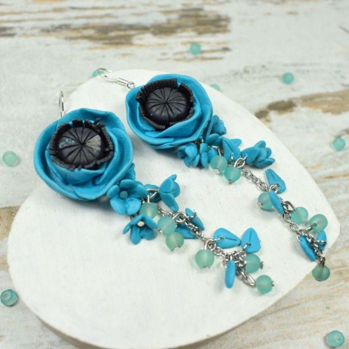 Długie kolczyki kwiaty - turkusowe