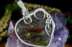 Srebrny wisior z kamieniem krwistym heliotrop