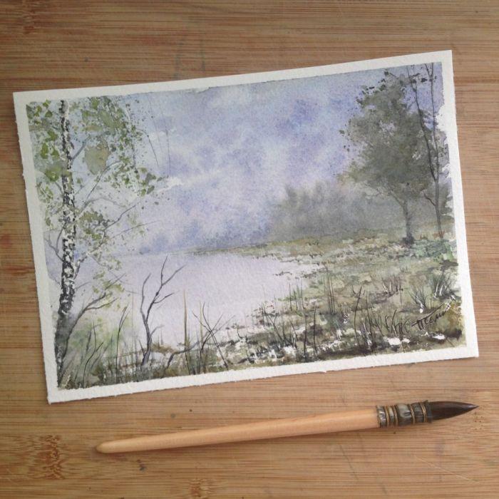 Obraz akwarela do salonu jezioro pejzaż deko