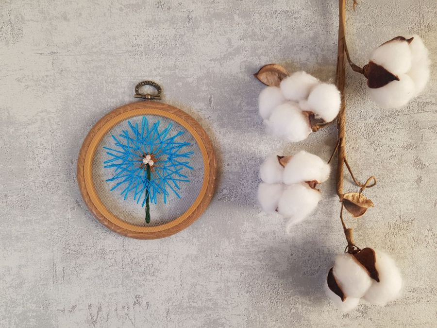 Komplet tamborków: turkusowe i szare dmuchawce - haftowane dmuchawce