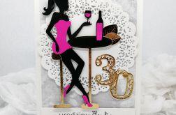 Kartka urodzinowa Kobieta z winem fuksja złot