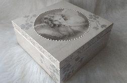 duża szkatułka z aniołkiem retro