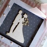 Kartka ślubna szaro-różowa