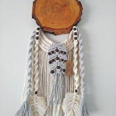 Łapacz snów handmade/plaster drewna/makrama/szary