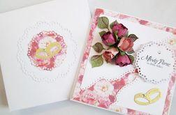 Kartka MŁODEJ PARZE w odcieniach różu