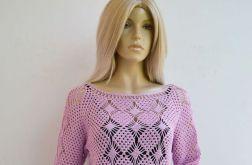 Szydełkowy sweter -bluzka w kolorze lila