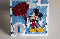 Kartka na Roczek ręcznie robiona Myszka Miki