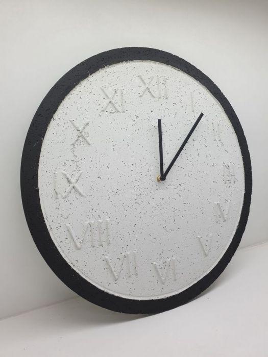 Zegar Ścienny Betonowy Roman Biały Czarny 45 - Zegar Roman Natural Biały Czarny #2