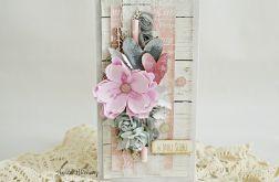 Kartka ślubna - szaro różowa