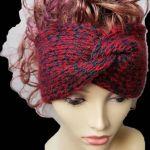 Gruba opaska, handmade, turban, melanż. - zimowe akcesoria