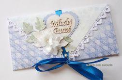 Kopertówka, kartka na ślub niebieska 1809