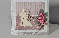 Kartka na ślub różyczki srebrne listki
