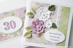 Kartka ROCZNICA ŚLUBU fioletowo-zielona