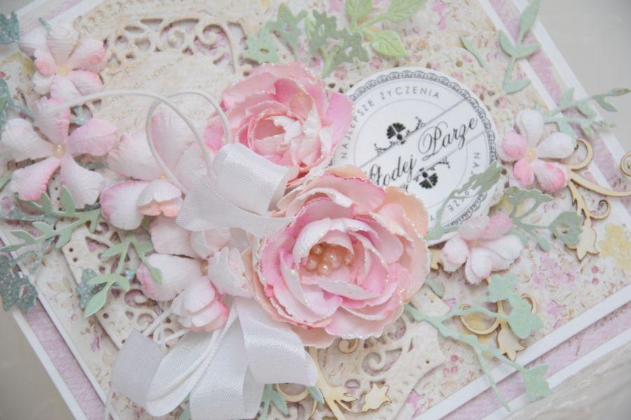 Pastelowa kartka ślubna WZÓR -