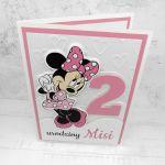 Kartka na urodziny z Myszką Minnie UDP 006 - Kartka na urodziny z Myszką Minnie dla dziewczynki różowa (2)