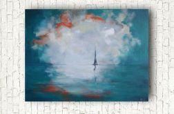 Samotna łódź -obraz akrylowy